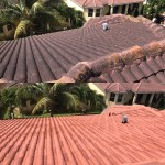 Roof cleaning project, before and after